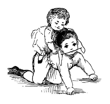 Baby playing with her brother in this picture vintage line drawing or engraving illustration.