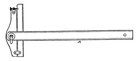 Adjustable Head T to square with Ruler is to create straight lines at different angles with a ruler it is to secure the blade and cross member in a desired position vintage line drawing or engraving illustration. Ilustrace