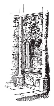 Fenestella in the Church of Norrey, In Roman Catholic churches, a niche on the south side of an altar, vintage line drawing or engraving illustration. Illustration