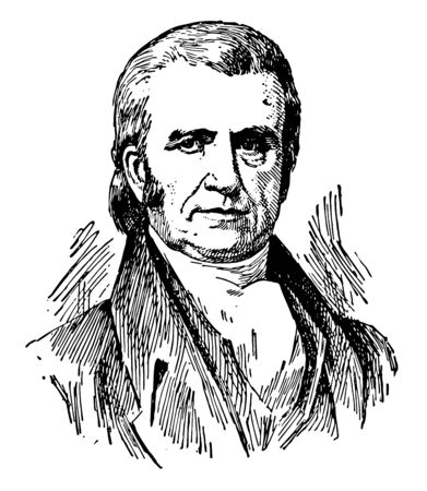 John Marshall 1755 to 1835 he was an American politician and the fourth chief Justice of the supreme court of the United States vintage line drawing or engraving illustration