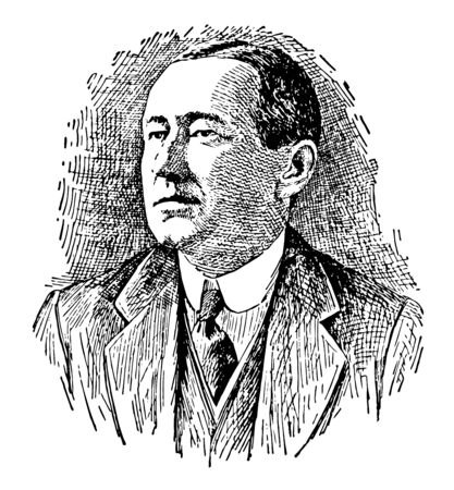 Guglielmo Marconi 1874 to 1937 he was an Italian inventor and electrical engineer famous for his pioneering work on long to distance radio transmission and for his development of Marconis law vintage line drawing or engraving illustration