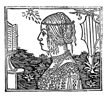 Woman with Braids in this picture, vintage line drawing or engraving illustration. Ilustração