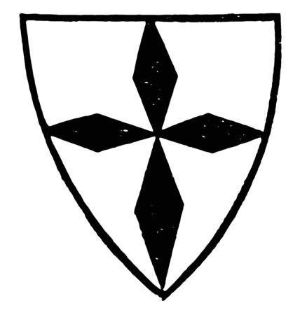 Four Fusils in Cross will be observed that the charge upon the shield vintage line drawing or engraving illustration.