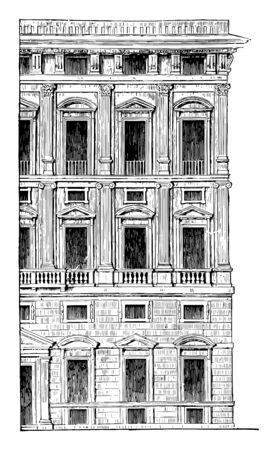 Mitad de la fachada de un palacio de Génova La pureza de estilo no es tan grande como en el romano, sobre todo en lo que se refiere a la pesada, el grado deseado, dibujo de línea vintage o ilustración de grabado. Ilustración de vector
