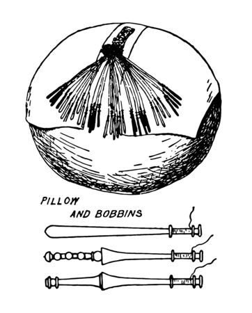 Pillow and Bobbins (Lace Manufacture), it is used in pillow lace manufacture, it's a Fabric Arts, vintage line drawing or engraving illustration.