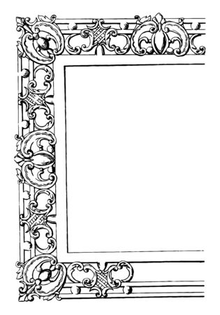 Rectangular Frame for Table Tops its used to on tables vintage line drawing or engraving illustration.