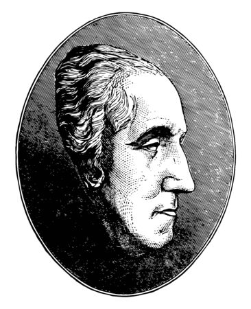 It describes the George Washingtons life mask was made in 1785 by French sculptor Jean Antoine Houdon vintage line drawing or engraving illustration.