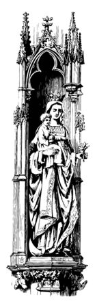 Statue of Virgin and Savior is made of stone vintage line drawing or engraving illustration.