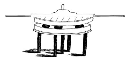 This illustration represents Tea Leaf Roller which is a machine with protruding handles used to roll tea leaves into balls, vintage line drawing or engraving illustration.