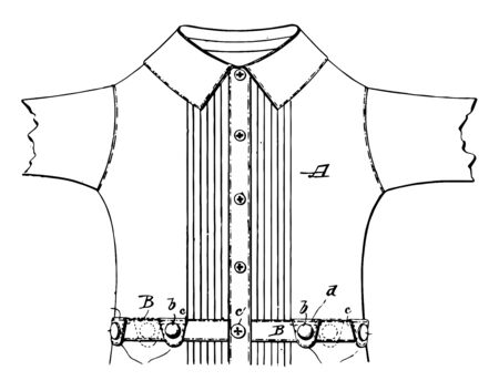 Waist Shirt was an undergarment worn exclusively by men, vintage line drawing or engraving illustration.