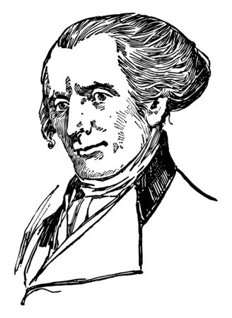 Elbridge Gerry 1744 to 1814 he was an American statesman diplomat the fifth vice president of the United States and ninth governor of Massachusetts vintage line drawing or engraving illustration Illustration