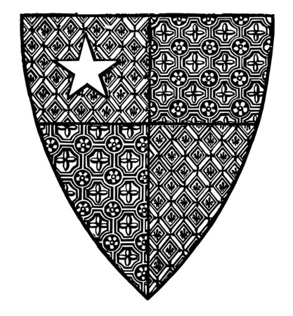 Shield of Robert de Vere are close advisor of King Richard II of England vintage line drawing or engraving illustration. Illustration