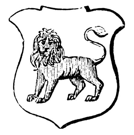 Lion Statant Gardant is an animal standing still with all its legs on the ground, vintage line drawing or engraving illustration.