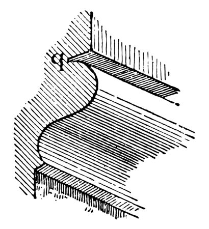 Quirk Molding having a small groove finishing proportion to its width vintage line drawing or engraving illustration. Reklamní fotografie - 132804087
