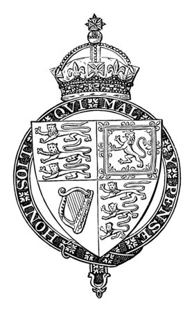 Shield of Queen Victoria is a coat of arms vintage line drawing or engraving illustration. 일러스트
