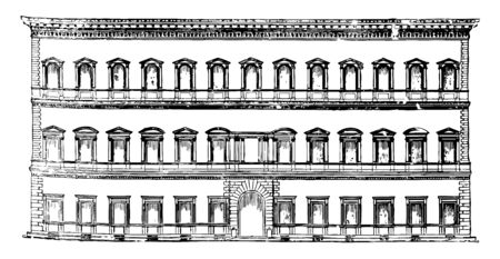 Farnese Palace at Rome prominent High Renaissance the French Embassy in Italy other renowned architects pursued the path vintage line drawing or engraving illustration.