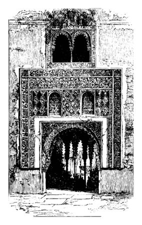 Alhambra the red fortress a palace and fortress the Moorish rulers in Granada vintage line drawing or engraving illustration.