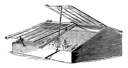 This illustration represents Three Quarter Span Roof Frame which is the advantage of giving more height inside vintage line drawing or engraving illustration.