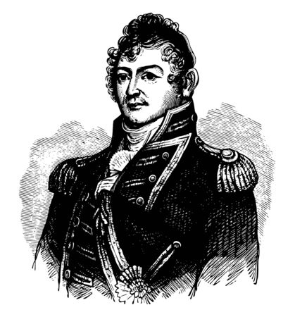 Isaac Hull 1773 to 1843 he was a commodore in the United States navy vintage line drawing or engraving illustration