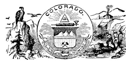 The official state seal of Colorado this seal has bald eagle sitting on high mountain and birds are flying in center an eye within triangle and below a bundle of rods with axe right side farmers vintage line drawing or engraving illustration 向量圖像