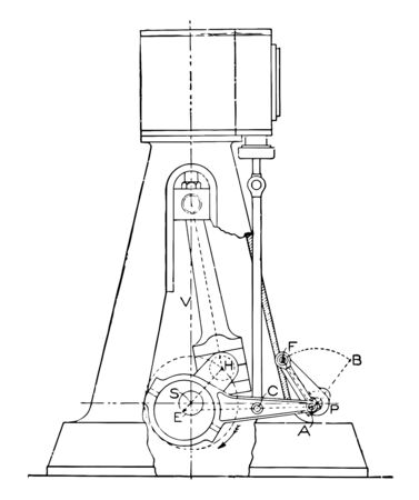 This illustration represents Outline of a Steam Engine Marshall Gear Reducing Friction and Wear vintage line drawing or engraving illustration.