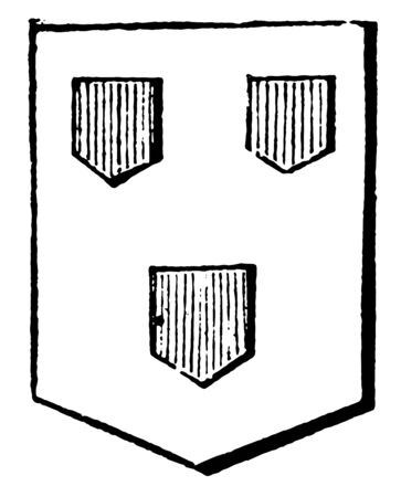 Inescutcheons name given to small escutcheons forming a bearing, vintage line drawing or engraving illustration.