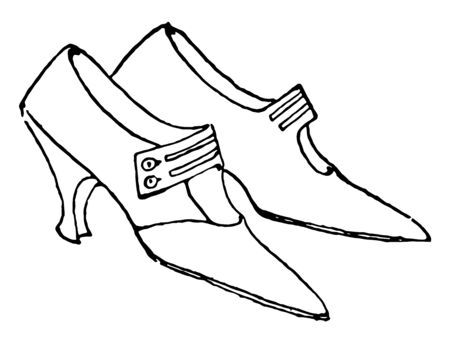 Ladys Shoes are high heeled and pointed with a strap vintage line drawing or engraving illustration. Illustration
