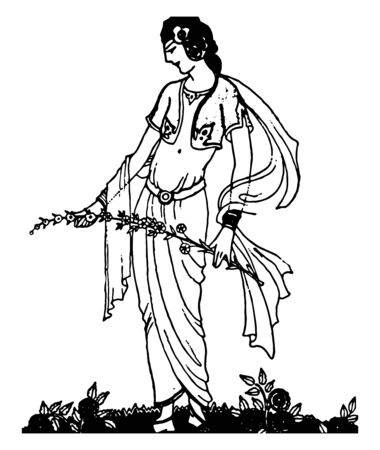 The Exile of Rama this scene shows a standing female holding branch of tree in hands which is full of flowers vintage line drawing or engraving illustration