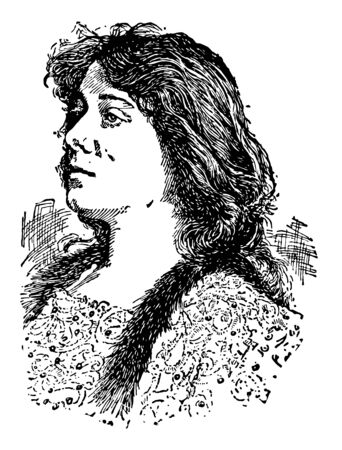 Julia Marlowe 1865 to 1950 she was an American actress famous for her interpretations of William Shakespeare vintage line drawing or engraving illustration