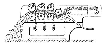 This illustration represents Bale breaking Machine, vintage line drawing or engraving illustration.