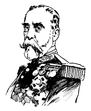 Ramon y Arenas Blanco who is Military officer born in Spain in 1833 vintage line drawing or engraving illustration. Ilustração