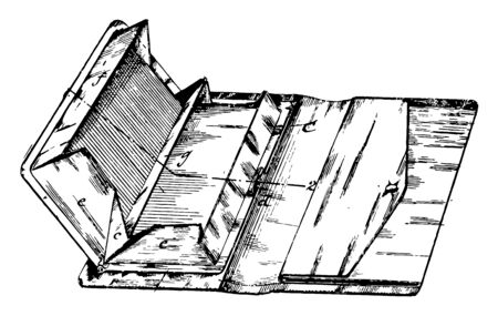 Multiple Compartment Pocket Book is similar to a purse, vintage line drawing or engraving illustration. Ilustração