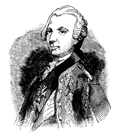Charles Henry Theodat dEstaing 1729 to 1794 he was a French general admiral and member of the assembly of notables in the French revolution vintage line drawing or engraving illustration