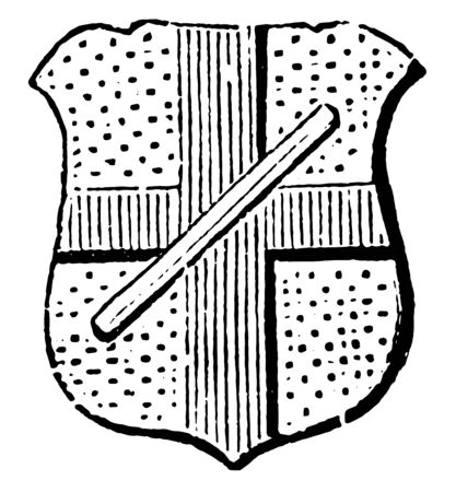 Baton Abatement is generally used as an abatement in coats of arms, vintage line drawing or engraving illustration.