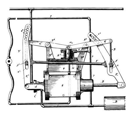This illustration represents Fluid Pressure Brake Apparatus, vintage line drawing or engraving illustration.