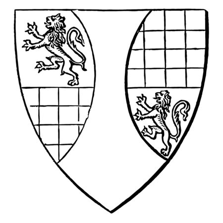 Shield of Ralph de Arundel is an illegitimate son of a member of the noble house it is one of the boroughs reformed by the Municipal Reform Act 1835 vintage line drawing or engraving illustration. Vettoriali