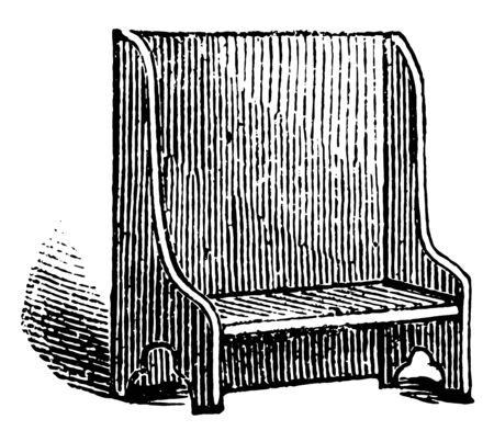 Bench with backrest, allows 2 people to sit, vintage line drawing or engraving illustration Illustration