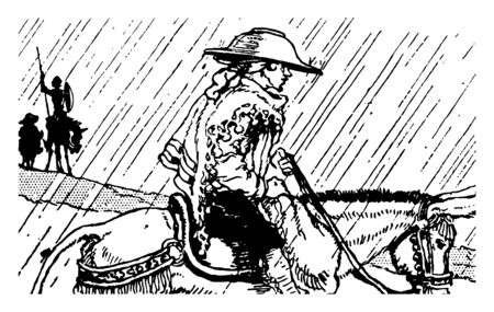 Don Quixote this scene shows a man with hat on head riding on horse in the rain man with spear and shield in background vintage line drawing or engraving illustration