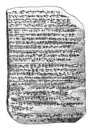 The Amarna Tablet or series of clay tablets Egyptian administration representatives vintage line drawing or engraving illustration.