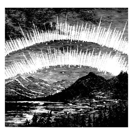 Auroras are caused by the passage of electricity through the rare air of the upper regions vintage line drawing or engraving illustration.