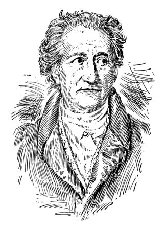 Johann Wolfgang von Goethe was the greatest figure in German literature vintage line drawing or engraving illustration.