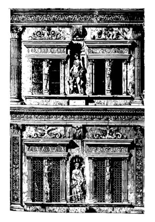 Façade of the Otto Heinrich Building in Heidelberg Castle German language named Heidelberger Schloss partially rebuilt since its demolition The Renaissance style on the Hradschin at Prague vintage line drawing or engraving illustration.