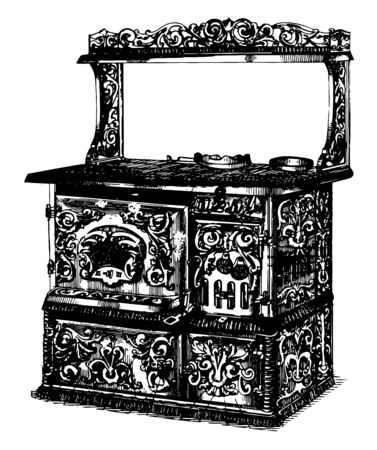 18th Century Stove Top used to cook food  using hot plate instead of direct fire,  vintage line drawing or engraving illustration. 矢量图像