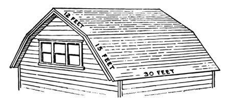 Barn Roof has two slopes on each side positioned at a shallow angle lower slope is steep vintage line drawing or engraving illustration.