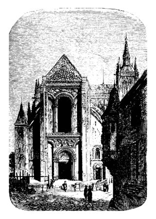 Cathedral of Mans a Roman Catholic Cathedral in Le Mans France built in a Romanesque and Gothic style vintage line drawing or engraving illustration. 일러스트