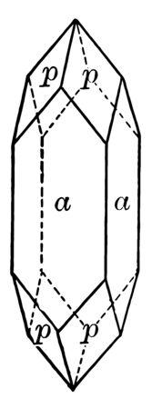 This diagram represents Apophyllite vintage line drawing or engraving illustration.
