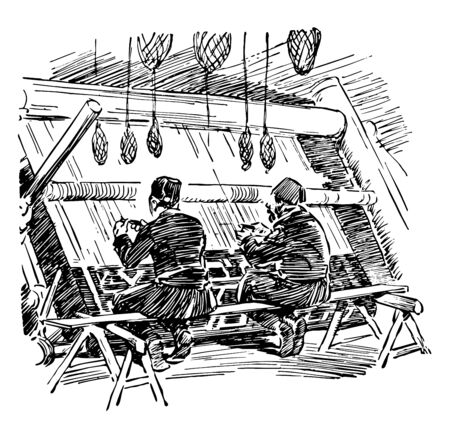 Turkish Rug Weavers is a two Turkish men weaving carpet it is a traditional fashion vintage line drawing or engraving.
