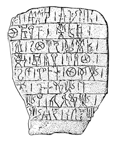 Cretan Writing or linear script originated in palace Gnossus undeciphered hieroglyphs vintage line drawing or engraving illustration. Illusztráció
