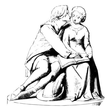 Sculpture has a fictional scene by famous Italian poet Dante Alighieri, vintage line drawing or engraving illustration. Foto de archivo - 133037285