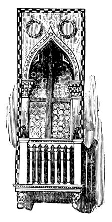 Balcony a projecting gallery in front of a window Balustrade bracket parapet pillar vintage line drawing or engraving illustration.